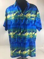 RIMA HAWAIIAN CARIBBEAN Mens Shirt Sz L Large Aloha Tropical Kokopelli Ocean Sun