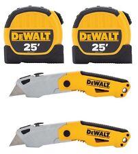 2 DEWALT 25 FT. TAPE MEASURES & 2 DEWALT AUTO-LOADING FOLDING UTILITY KNIVES-NEW
