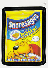 WACKY PACKAGES SERIES #7 - SNORESAGES DOG FOOD SNACKS - STICKER #49