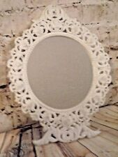 ~Vintage Chippy White Ornate Romantic Iron Standing Vanity Mirror! Cottage Chic