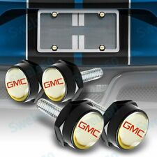 For GMC Car License Plate Frame Screw Bolt Cap Cover Screw Bolts Nuts Black 4Pcs