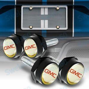 For GMC Car License Plate Frame Screw Bolt Cap Cover Screw Bolts Nuts Black 4Pcs