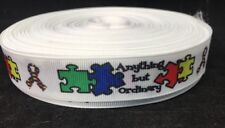 """7/8"""" Autism Awareness """"Anything But Ordinary"""" Grosgrain Ribbon Large amount Roll"""