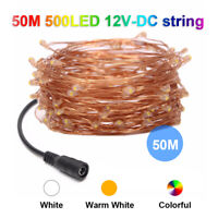 50M LED Copper Wire String Fairy Light Wedding Xmas Party Decor DC 12 + Adapter