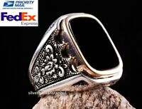 Turkish 925 Sterling Silver Special BLACK ONYX stone mens man ring ALL SİZE us
