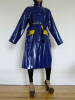 Shiny Blue PVC Rain Coat, Raincoat by PVC-U-Like, Plastic Slicker, Rainwear, L