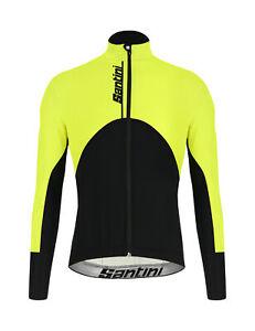 Santini Men's Khan Cycling Windproof Jacket in Yellow