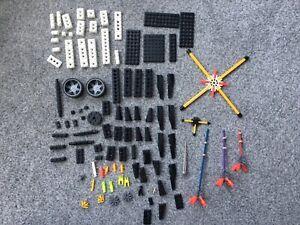 K'NEX Building Blocks Rods Connectors Wheels Black & White Over 100 Pieces