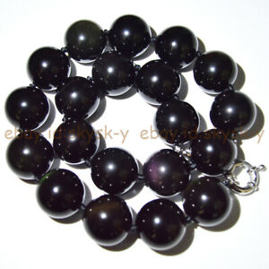 18/20mm Natural Black Rainbow Eye Obsidian Round Gemstone Beads Necklace 16-25''