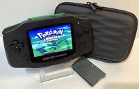 Nintendo Game Boy Advance All Black GBA Backlit IPSv2 10-Lvl Bright LCD Bundle