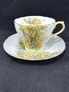 """SHELLEY England Demitasse Cup & Saucer Set """"DAFFODIL TIME"""" pattern"""