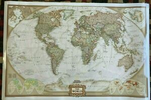 """National Geographic World Executive Map - 46""""W x 31""""L  Laminated"""
