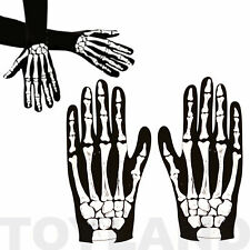 HALLOWEEN SKELETON GLOVES FANCY DRESS BONE COSTUME ACCESSORY CHILDREN & ADULT