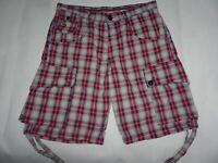 "LUKE Mens Shorts Red & Grey Plaid Check Cotton CARGO Shorts SIZE W32 Waist 32"""