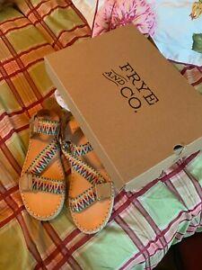 Frye Kole Asymmetrical tan Leather Sandal Women's  9 NEW WITH BOX