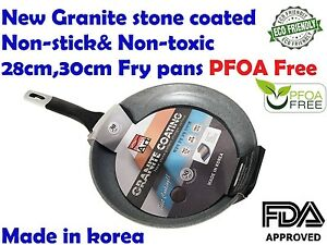 Non-Stick Granite,Marble,Stone Coated fry pan with Lid cookware Korea