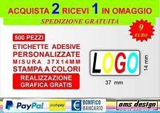 500 Etichette adesive personalizzate bollini 37x14 mm stampa a colori