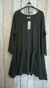 Langes Shirt / Kleid mit Scha f. Lagenlook von La Bass in antrazit Gr.TU  bis 52