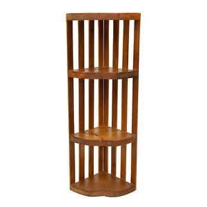Vintage Farmhouse Country Pine Tiered Corner Wall Hanging Shelf