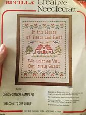 """Bucilla Stamped Cross Stitch Sampler Kit 2692 Partially Done 10""""x13"""" House Guest"""