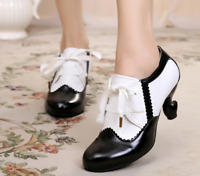 New Women's Lace up Brogues Kitten Heels Ladies lolita Stitching Color Shoes Hot