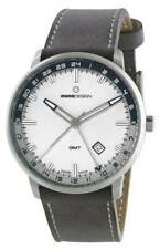 MomoDesign Men's Watch Essenziale GMT White Dial with Grey Leather Strap