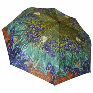 "Van Gogh Blue Irises 12"" Compact Collapsible Auto Open and Close Premium Umbrell"