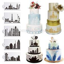 5Pcs Building Lace Cake Cookie Fondant Side Baking Wedding Stencil Decor Tools