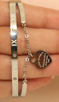 18K White Gold Finish 0.5Ct Diamond Bangle Bracelet Heart Shape