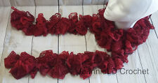 Handmade Crocheted Fashion Ruffle Scarf - Red Rubies