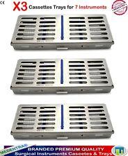 Dental Sterilization cassette autoclave Scalers Plateau Boîte pour 7 Instruments 3PCS