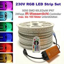 5-100 Meter 230V  IP67 LED RGB Strip Streifen 60 LEDs/M  RF/IR IP65 Controller