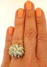 Platinum 18K Yellow Gold Diamond Domed Flower Floral Vintage Retro Cocktail Ring