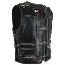 Men's Genuine Cow Leather Heavy Zipper Rocker Biker Motorcycle Vest Waistcoat
