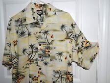 TOMMY BAHAMA Hawaiian Floral S/S Silk Camp Shirt Large