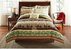 6pc Twin XL Gone Fishing Bed in a Bag Comforter Bedding Set Cabin Canoe Rustic
