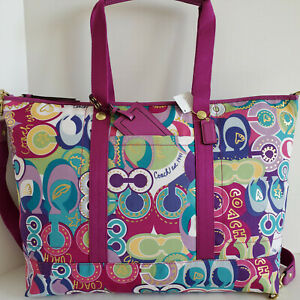 Coach XL Travel Tote Pop C Signature Applique Multicolor Crossbody Bag NWT***HTF
