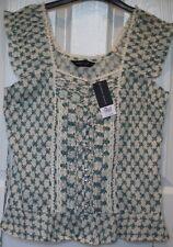 BNWT £22 Dorothy Perkins Ditsy Flower Sleeveless Top Ivory & Turquoise - UK 14