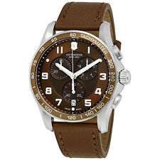 Victorinox Chrono Calssic XLS Brown Dial Brown Leather Mens Watch 241653