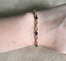 10K Yellow Gold Sapphire Diamond Link Bracelet 6.3g 7.25 Inches