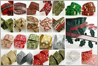 Christmas Ribbon -  Hessian Glitter Stag Holly Tartan Stars - Tying Wreath Gift
