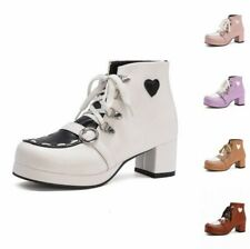 New Fashion Women's Cosplay Round Toe Block Chunky Heel Lace Ups Ankle Boots L
