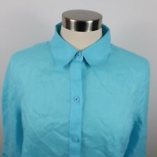 Chicos Womens Linen No Iron 3/4 Sleeve Button Down Tie Front Blue Blouse Size 1