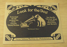"Antique Poster/Flyer~""VICTOR TALKING MACHINE CO""~Reprint~'Look for the Dog'~"