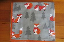 Baby blanket,handmade,double thickness, ex large- Frolicking foxes, grey crosses