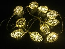 2 x 10 PINECONE LIGHTS WARM WHITE BATTERY OPERATED WEDDING DECORATIONS CHRISTMAS