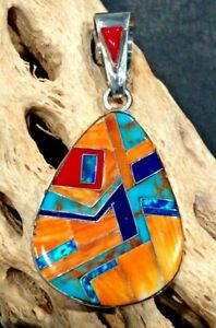 Native American Indian Jewelry Sterling Silver Spiny Oyster Pendant Signed