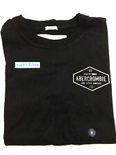 NEW A&F Abercrombie & Fitch Men's short sleeve logo cotton crew Tee M black