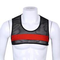 Herren Mesh Kurz T-Shirt Trainings Crop Tops Fischnetz Clubwear Tank Tops Sexy