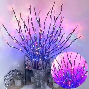 20 LED Xmas Willo Branch Floral Lights Lamp Merry Christmas Tree Decorations USA